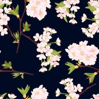 Hermosa flor de cerezo de patrones sin fisuras
