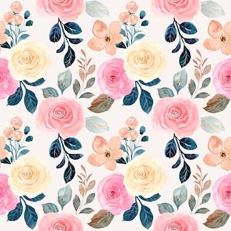 Hermosa flor color de rosa acuarela de patrones sin fisuras