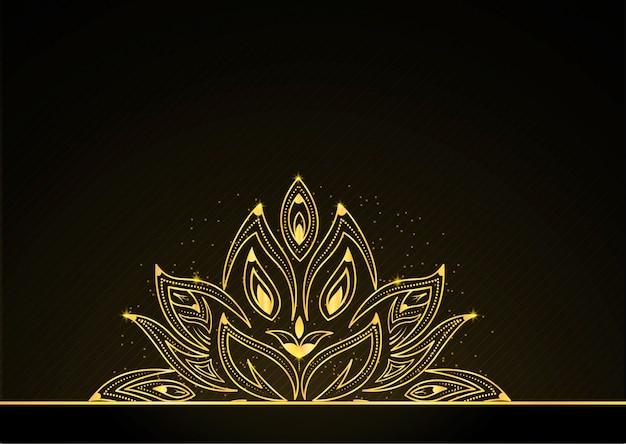 Hermosa flor dorada con partícula que fluye