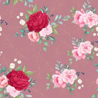 Hermosa flor floral y hojas de patrones sin fisuras