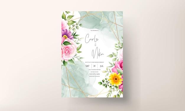 Hermosa flor floreciente acuarela tarjeta de invitación de boda