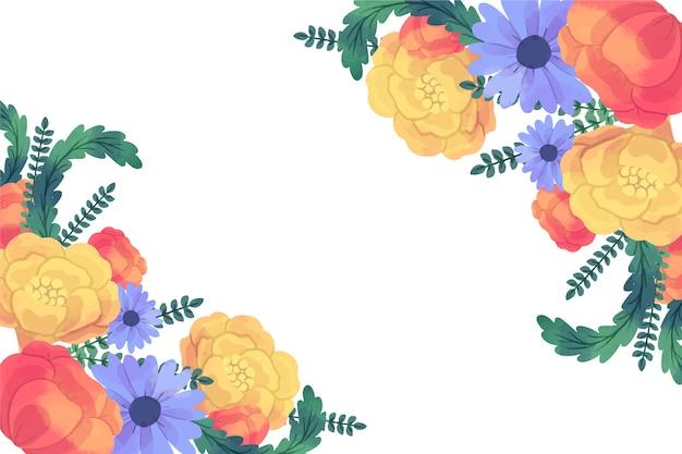 Hermosa flor flores doradas y azules fondo de primavera