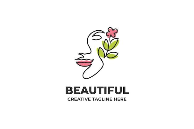 Hermosa flor mujer silueta logotipo una línea