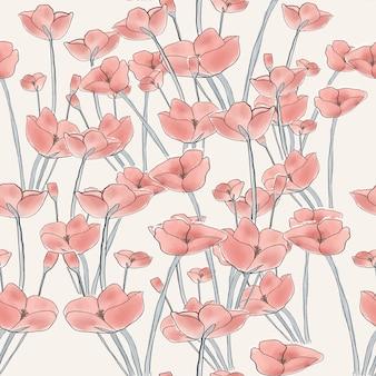 Hermosa flor roja de patrones sin fisuras