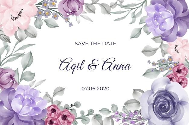 Hermosa flor rosa marco violeta para invitación de boda