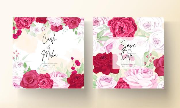 Hermosa flor de rosa y peonía tarjeta de invitación de boda