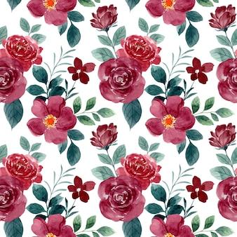 Hermosa flor rosa roja acuarela de patrones sin fisuras