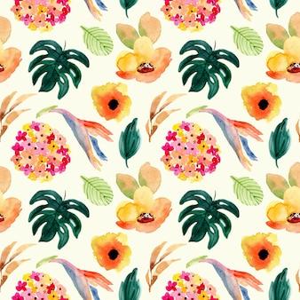 Hermosa flor tropical acuarela de patrones sin fisuras