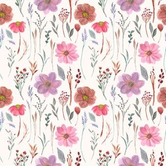 Hermosa flor vintage acuarela de patrones sin fisuras