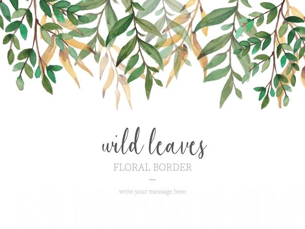 Hermosa frontera con hojas silvestres