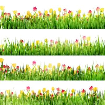 Hermosa frontera de pascua con hierba y flores.
