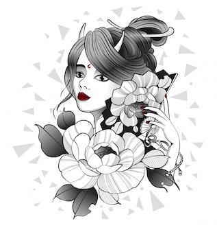 Hermosa geisha con un abanico en la mano