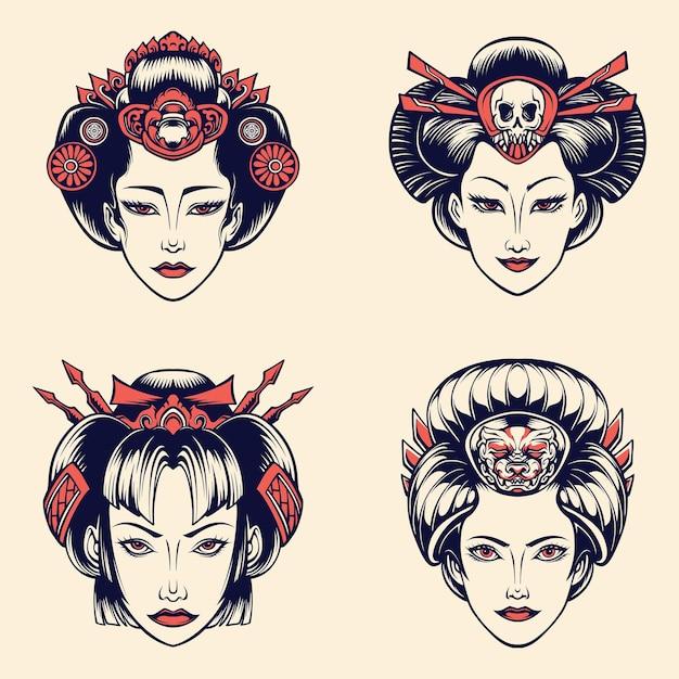 Hermosa geisha japonesa