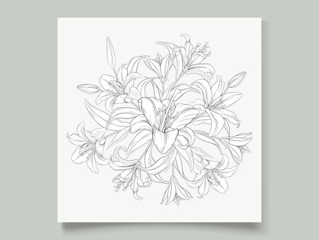Hermosa guirnalda dibujada a mano flores de lirio