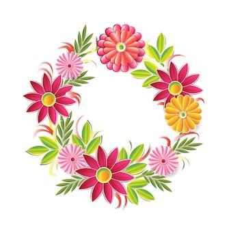 Hermosa guirnalda de flores aislado. elemento de decoración floral marco redondo