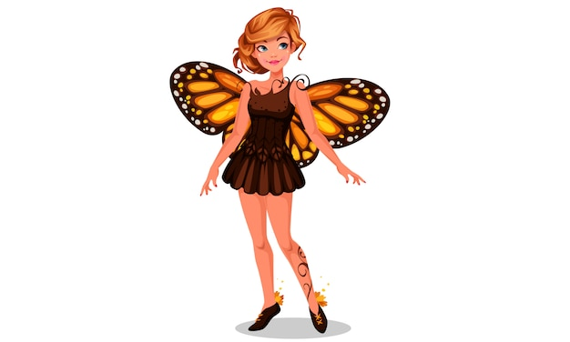 Hermosa hada mariposa monarca
