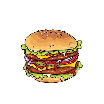 Hermosa hamburguesa con queso realista. ilustración comida rápida.