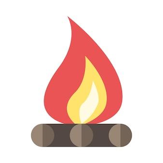 Hermosa hoguera de estilo plano aislado en blanco. concepto de llama, fuego, fogata, aire libre, campamento, viajes, vacaciones, festival y picnic. ilustración de vector eps 8, sin transparencia