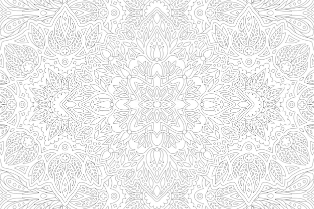 Hermosa ilustración en blanco y negro para colorear para adultos con patrón lineal de rectángulo floral