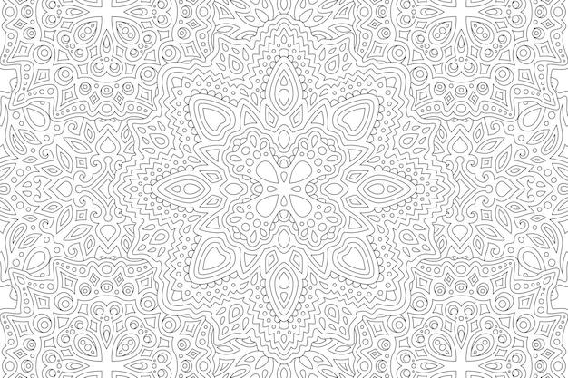 Hermosa ilustración en blanco y negro para colorear para adultos con patrón oriental abstracto lineal