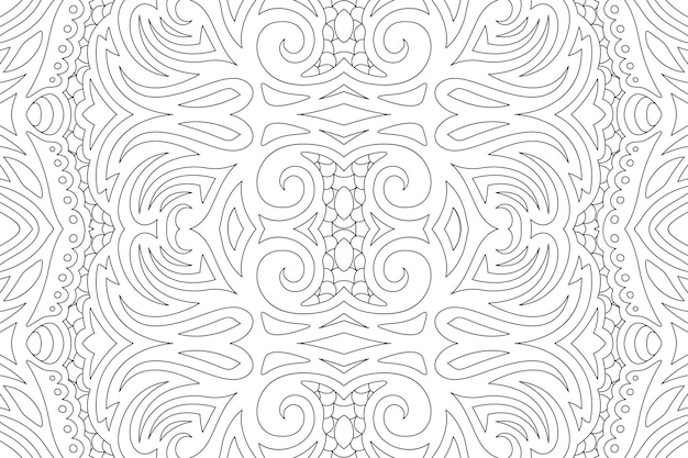 Hermosa ilustración en blanco y negro para colorear libro con patrones sin fisuras lineales vintage