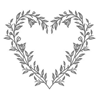 Hermosa ilustración de corazón floral para el día de san valentín