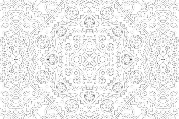 Hermosa ilustración cósmica en blanco y negro para libro de colorear para adultos con patrón lineal de rectángulo abstracto