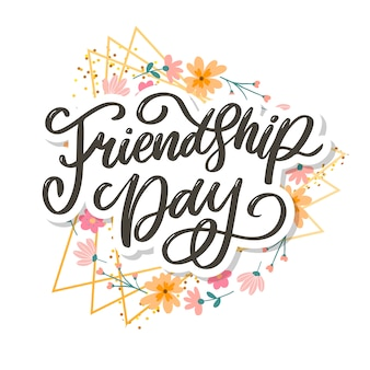 Hermosa ilustración del feliz día de la amistad, diseño de tarjeta de felicitación decorada.