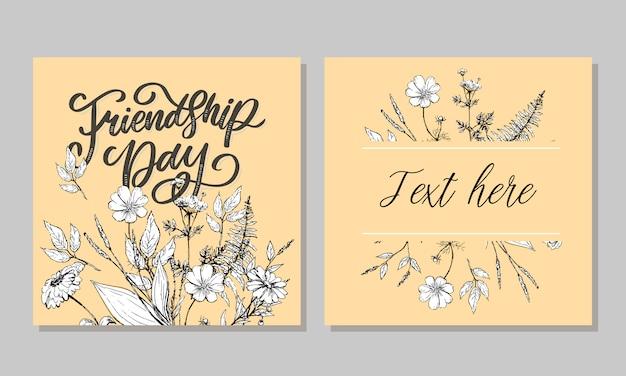 Hermosa ilustración del feliz día de la amistad, tarjeta de felicitación decorada.