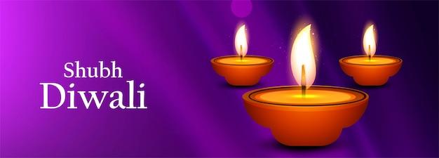 Hermosa ilustración para el festival de diwali con lámpara de aceite para banner