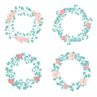 Hermosa ilustración de guirnalda floral