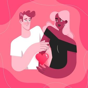 Hermosa ilustración con hombre y mujer