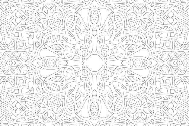 Hermosa ilustración lineal para libro de colorear para adultos con patrón abstracto rectángulo negro sobre fondo blanco