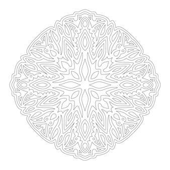 Hermosa ilustración lineal monocromática para colorear libro con aislado en el patrón abstracto de fondo blanco
