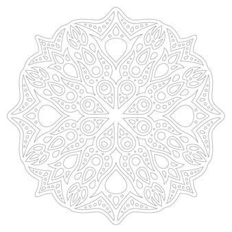 Hermosa ilustración lineal monocromática para colorear página de libro con patrón abstracto aislado en blanco