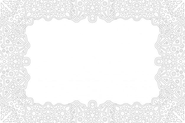 Hermosa ilustración lineal monocromática para la página del libro de colorear para adultos con borde rectangular abstracto y espacio de copia en blanco