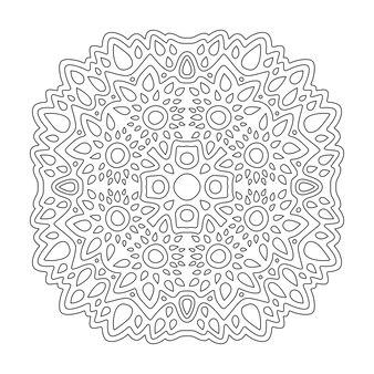 Hermosa ilustración lineal monocromo para colorear página de libro con patrón abstracto aislado sobre fondo blanco.