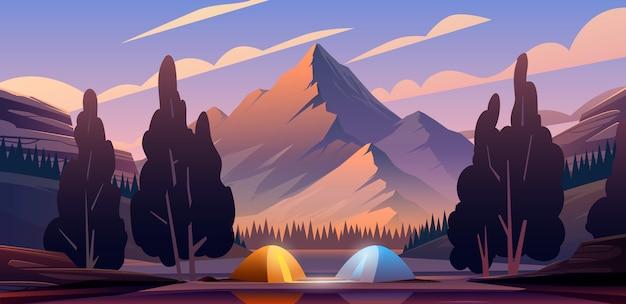 Hermosa ilustración el lugar para acampar en las montañas.
