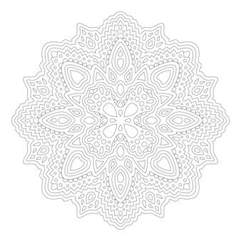Hermosa ilustración monocromática para colorear libro con aislado en el patrón abstracto lineal de fondo blanco