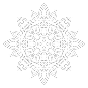 Hermosa ilustración monocromática para colorear página de libro con patrón abstracto lineal aislado en el fondo blanco