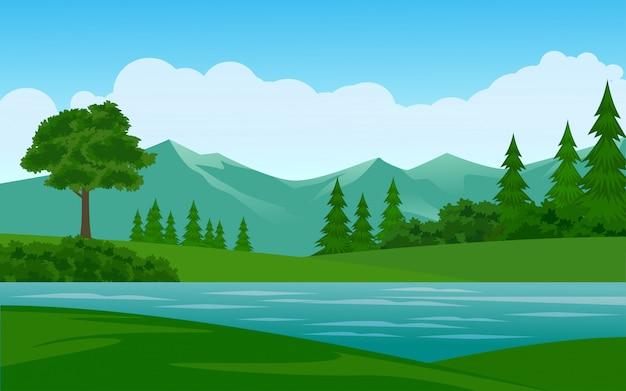 Hermosa ilustración de montaña con río