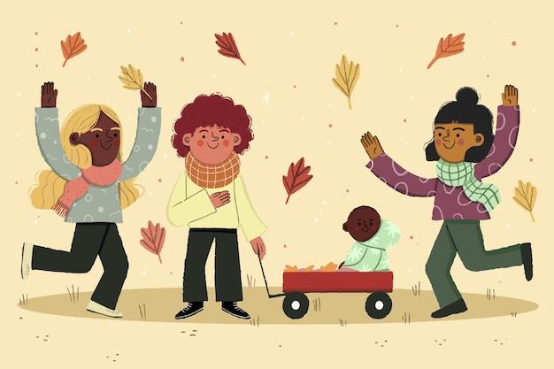 Hermosa ilustración de niños de otoño jugando afuera