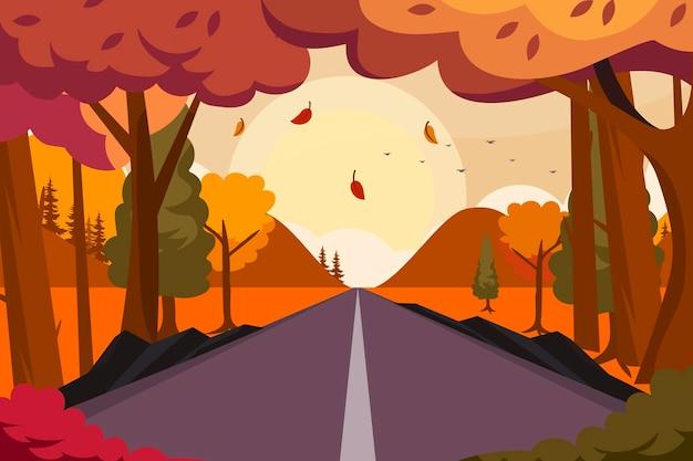Hermosa ilustración de otoño de un paisaje