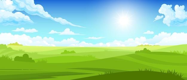Hermosa ilustración de paisaje soleado