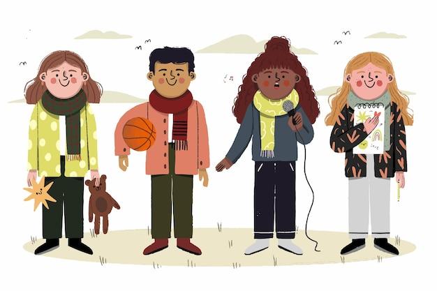 Hermosa ilustración de pasatiempos de los niños de otoño