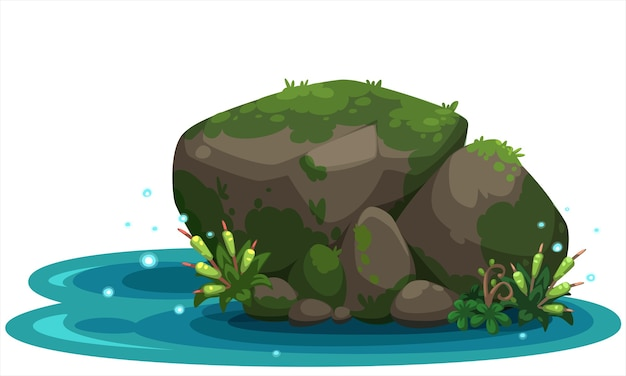 Hermosa ilustración de piedra de río