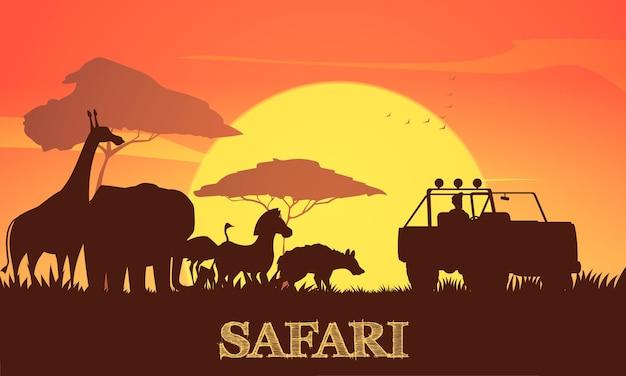 Hermosa ilustración de safari africano al atardecer con árboles de acacia jirafa elefante cebra y siluetas de jeep