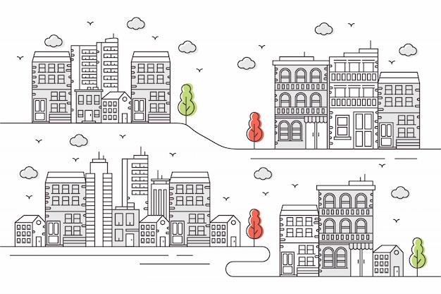 Hermosa ilustración urbana con varias formas en un estilo de línea