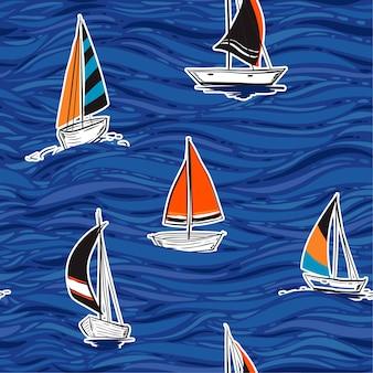 Hermosa ilustración de vector de patrón sin costuras colorida mano de verano dibujo diseño de estilo de onda para la moda, tela, papel pintado, web y todas las impresiones