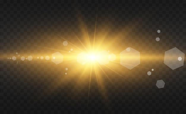 Hermosa ilustración vectorial de oro de una estrella sobre un fondo translúcido con polvo de oro y brillos. una base de luz magnífica para tu.